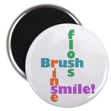 """Brush Floss Rinse Smile 2.25"""" Magnet (100 pack)"""