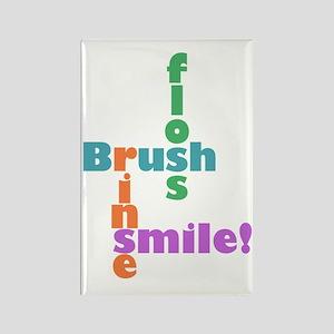 Brush Floss Rinse Smile Rectangle Magnet