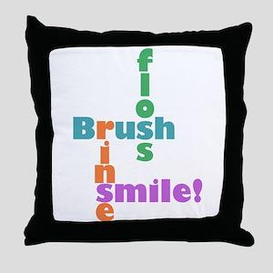 Brush Floss Rinse Smile Throw Pillow