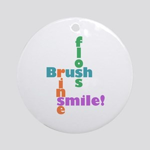 Brush Floss Rinse Smile Ornament (Round)