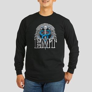 EMT Caduceus Blue Long Sleeve Dark T-Shirt