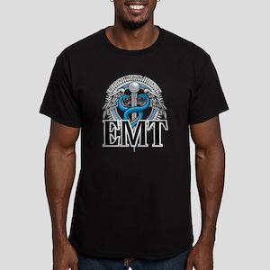 EMT Caduceus Blue Men's Fitted T-Shirt (dark)