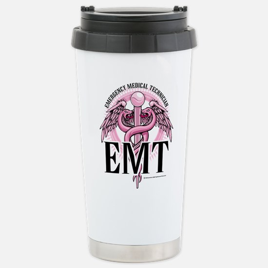 EMT Caduceus Pink Stainless Steel Travel Mug