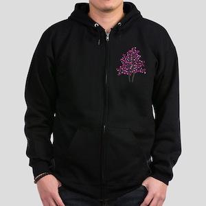 pink tree Zip Hoodie (dark)