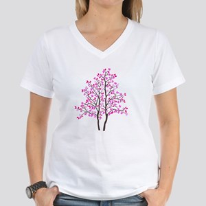 pink tree Women's V-Neck T-Shirt
