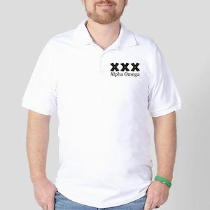 Apha Omega Logo 12 Golf Shirt Design Front Pocket