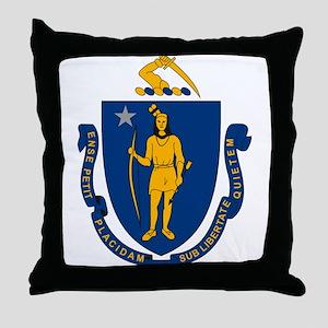 Massachusetts Flag Throw Pillow