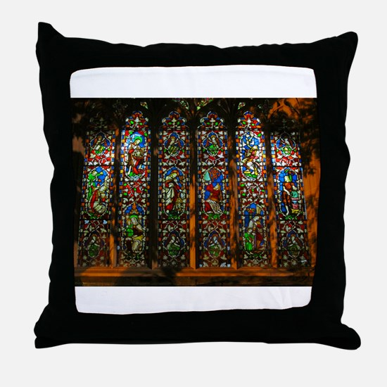 Stained Glass Window Christ Throw Pillow