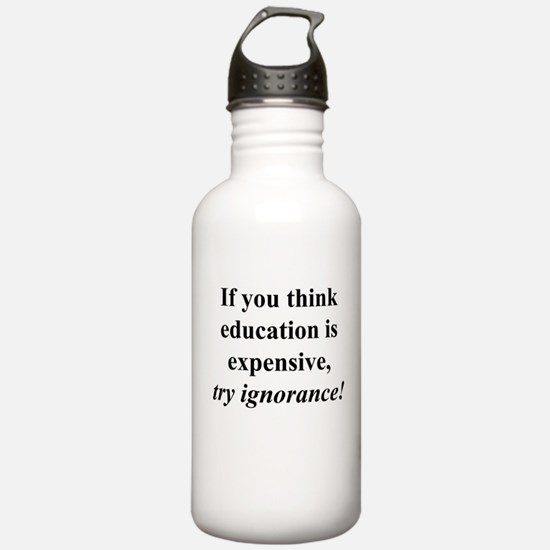 Education quote (black) Water Bottle