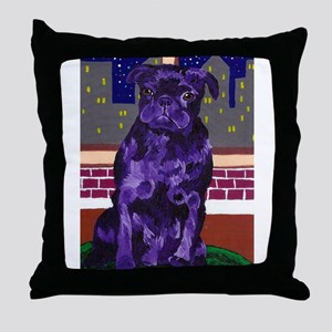 Purple Pug in NY Throw Pillow