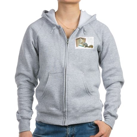 Squirrel Pencil Book Women's Zip Hoodie