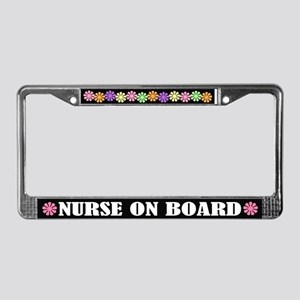 Cute Nurse on Board License Plate Frame