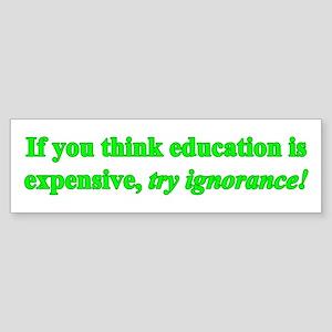 Education quote (green) Sticker (Bumper)