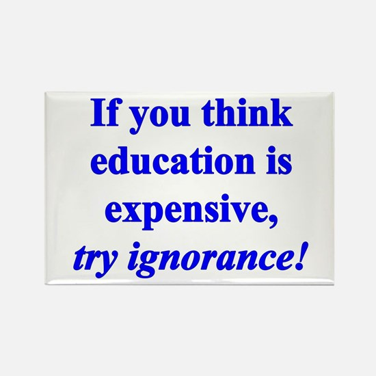 Education quote (blue) Rectangle Magnet