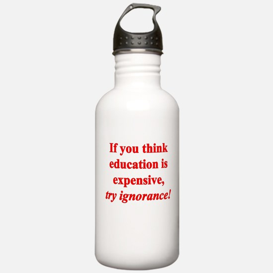 Education quote (Red) Water Bottle