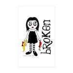 Broken Goth Doll Sticker (Rectangle 50 pk)