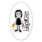 Broken Goth Doll Sticker (Oval 50 pk)