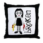 Broken Goth Doll Throw Pillow