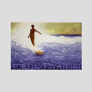 Surfing Waikiki Rectangle Magnet