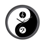 Yin Yang With Music Clefs Wall Clock