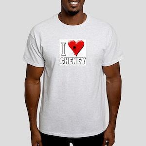 I Love (Heart) Cheney Bullet Hole Ash Grey T-Shirt