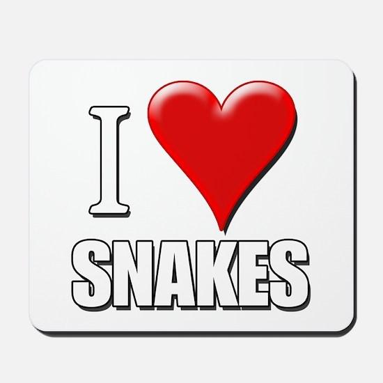 I Love (Heart) Snakes Mousepad