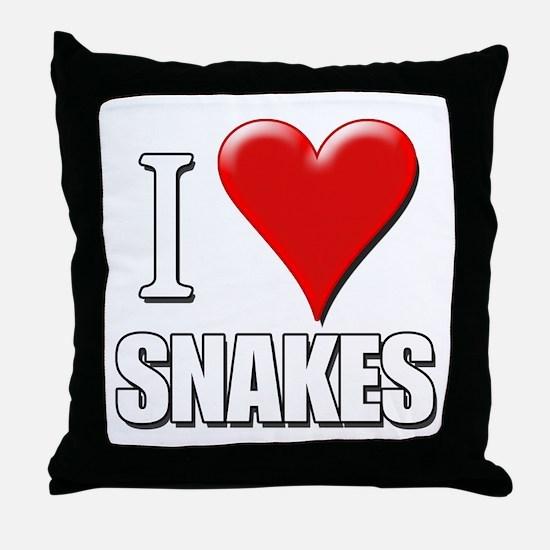 I Love (Heart) Snakes Throw Pillow