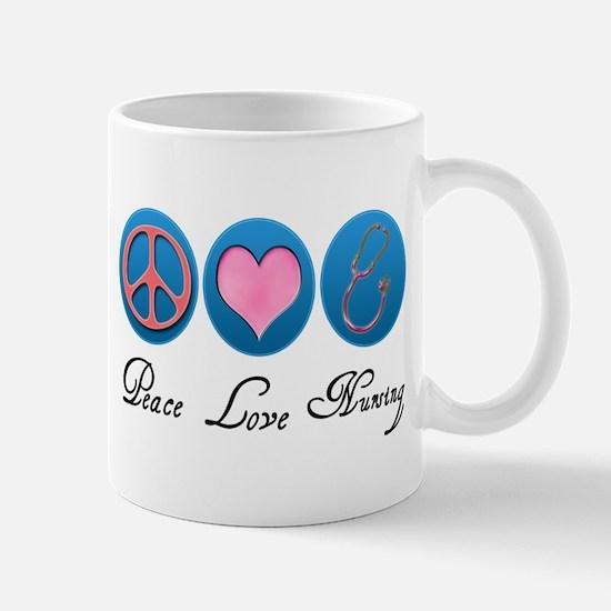 3-peace love nursing copy Mugs
