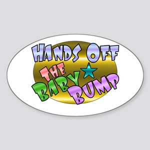 Hands Off The Baby Bump Oval Sticker