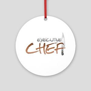 Orange Executive Chef Round Ornament