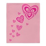 Pink Celtic Hearts Throw Blanket