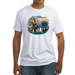 St Francis (ff)-7 Cats Fitted T-Shirt