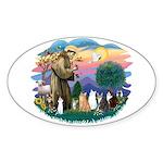 St Francis (ff)-7 Cats Sticker (Oval 10 pk)