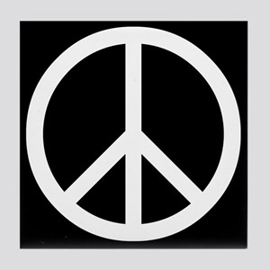 White Peace Sign Tile Coaster