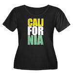 CALIforNIA Women's Plus Size Scoop Neck Dark T-Shi