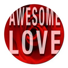 Awesome Love Round Car Magnet
