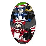 Racing Cars Sticker (Oval)
