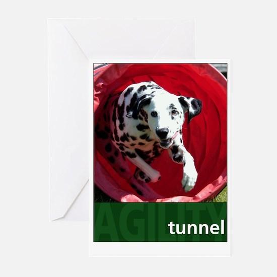 Agility Dalmatian : Tunnel Greeting Cards