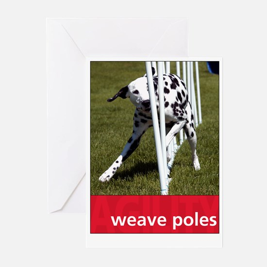 Agility Dalmatian : Weave Poles Greeting Cards