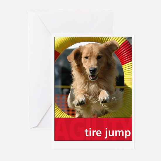 Agility Golden : Tire Jump Greeting Cards