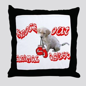 Knock Out Animal Abuse Throw Pillow