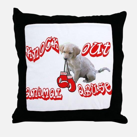 Knock Out Animal Abuse Throw Pillow