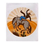 cowboy riding horse Throw Blanket
