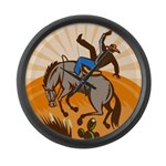 cowboy riding horse Large Wall Clock