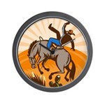 cowboy riding horse Wall Clock