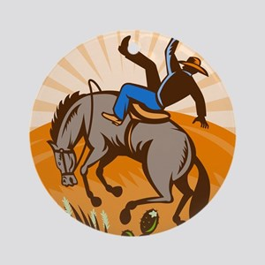 cowboy riding horse Ornament (Round)