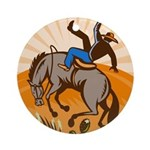 cowboy riding horse Ornament (Round)