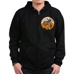cowboy riding horse Zip Hoodie (dark)
