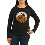 cowboy riding horse Women's Long Sleeve Dark T-Shi