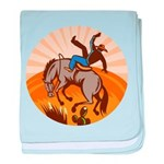 cowboy riding horse Infant Blanket